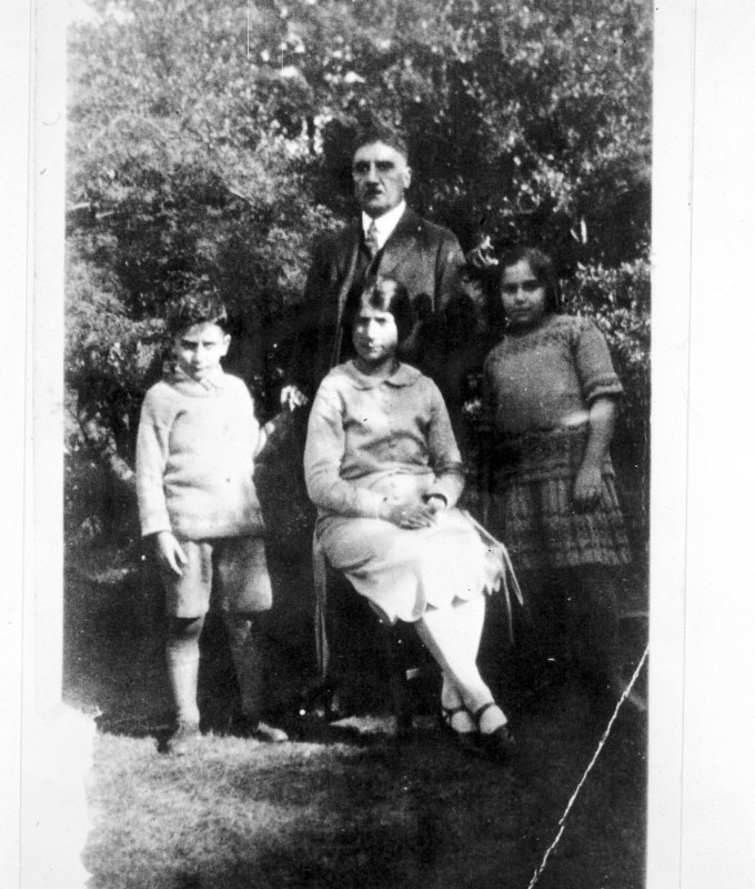 Samuel Galstaun with his children Diana and Vanick and refugee who worked for the family, 1925