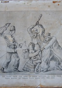 Illustration 1910, pre-genocide. ''They tore the babes from the arms of their mother, to hack them to pieces with knives or throw them alive into the fire''.
