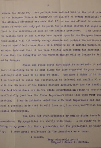 James L. Barton to Diana Apcar, February 12, 1913, page 2