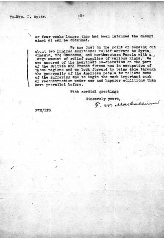 American Committee for Relief in the Near East to Diana Apcar, February 7, 1919, page 2