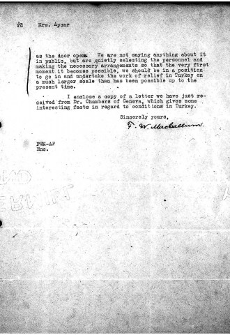 American Committee for Armenian and Syrian Relief to Diana Apcar, October 21, 1918, page 2