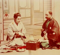 `Tea ceremony, Diana and her husband, Apcar Michael Apcar, 1889.
